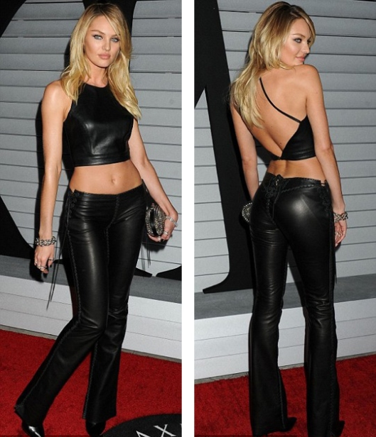 Candice Swanepoel in her Lost Art leather pants, Maxim Hot 100