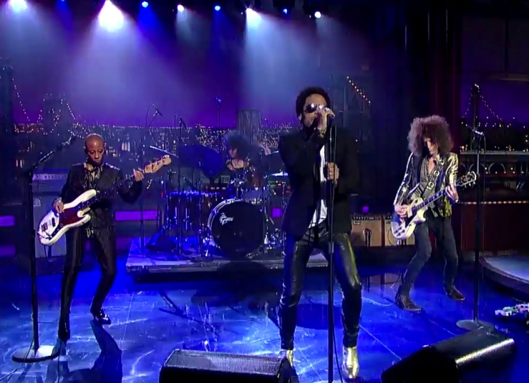 Lenny Kravitz in Lost Art leather pants, Strut album release with Cindy Blackman Santana, Craig Ross, Gail Ann Dorsey David Letterman, CBS, September 23, 2014 Special Thanks Rodney Burns and Denine Labat click to view performance